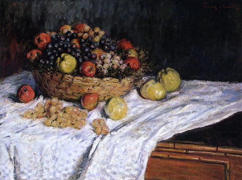 Claude Oscar Monet Fruit Basket with Apples and Grapes - Hand Painted Oil Painting