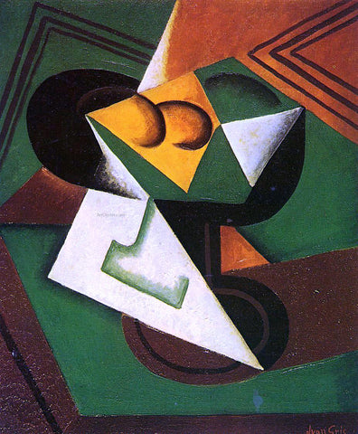 Juan Gris Fruit Bowl and Fruit - Hand Painted Oil Painting