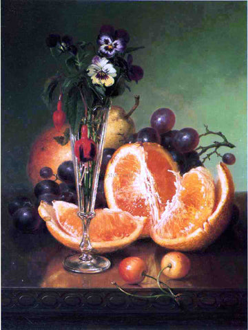 Robert Spear Dunning Fruit, Flowers and a Wineglass on a Tabletop - Hand Painted Oil Painting