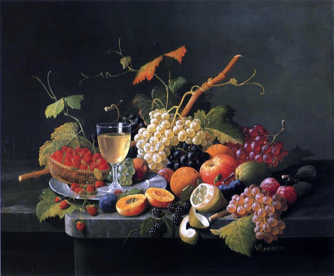 Severin Roesen Fruit on a Marble Ledge with Wine Glass - Hand Painted Oil Painting