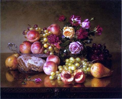 Robert Spear Dunning Fruit Still Life with Roses and Honeycomb - Hand Painted Oil Painting