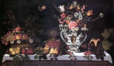 Master of Hartford Still-life Fruit Still-Life with a Vase of Flowers - Hand Painted Oil Painting