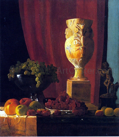John Frederick Peto Fruit, Vase and Statuette - Hand Painted Oil Painting