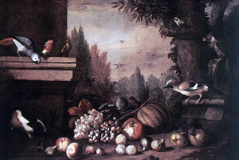 Jakab Bogdany Fruit with Birds and Guinea-pig - Hand Painted Oil Painting