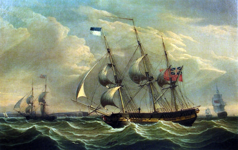 Robert Salmon Full Rigged Ships and a Brig off the Coast of England - Hand Painted Oil Painting