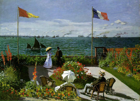 Claude Oscar Monet Garden at Sainte-Adresse - Hand Painted Oil Painting