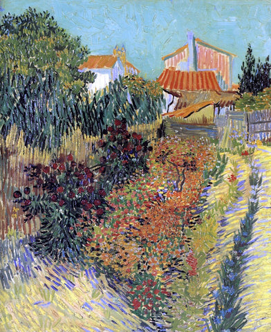 Vincent Van Gogh Garden Behind a House - Hand Painted Oil Painting