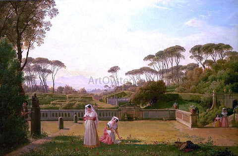 Franz Ludwig Catel Garden of the Villa Doria Pamphili in Rome - Hand Painted Oil Painting