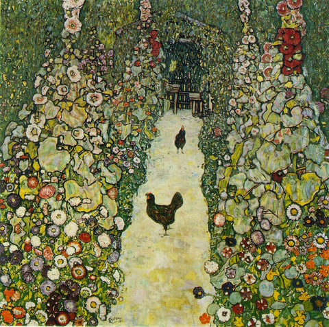 Gustav Klimt A Garden Path with Chickens - Hand Painted Oil Painting