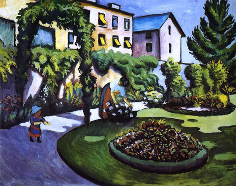 August Macke Garden Picture (also known as The Macke's Garden in Bonn) - Hand Painted Oil Painting
