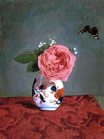 Gustave Caillebotte Garden Rose and Blue Forget-Me-Nots in a Vase - Hand Painted Oil Painting