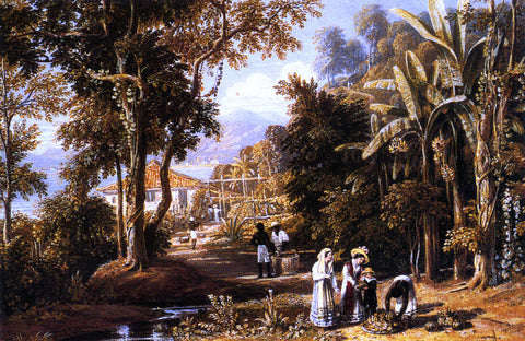 William Havell Garden Scene On The Broganza Shore, Rio De Janeiro - Hand Painted Oil Painting
