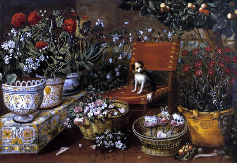 Tomas Hiepes Garden View with a Dog - Hand Painted Oil Painting