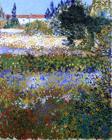 Vincent Van Gogh Garden with Flowers - Hand Painted Oil Painting