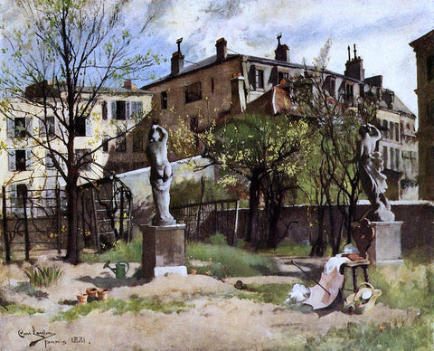 Carl Larsson Garden with Sculptures - Hand Painted Oil Painting