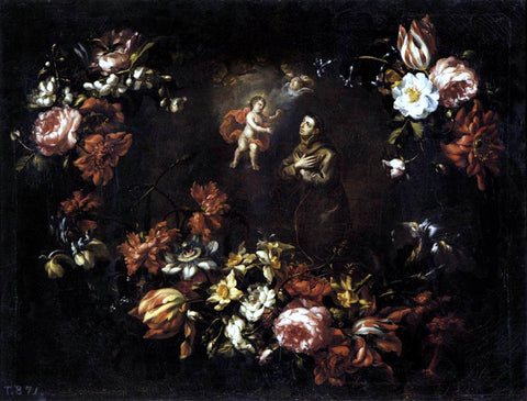 Bartolomé Pérez Garland of Flowers with St Anthony of Padua - Hand Painted Oil Painting