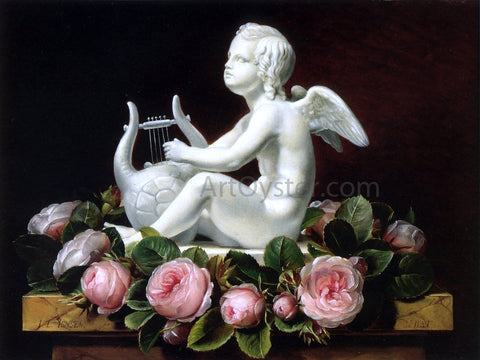 Johan Laurentz Jensen Garland of Pink Roses around 'Cupid Playing a Lyre' on a Brown Marble Ledge - Hand Painted Oil Painting