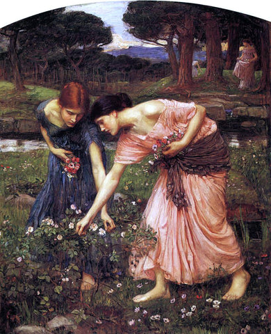 John William Waterhouse Gather Ye Rosebuds While Ye May - Hand Painted Oil Painting