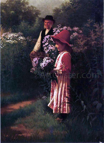 Samuel S Carr Gathering Flowers - Hand Painted Oil Painting