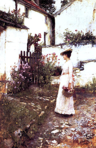 John William Waterhouse Gathering Flowers in a Devonshire Garden - Hand Painted Oil Painting