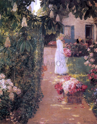 Frederick Childe Hassam Gathering Flowers in a French Garden - Hand Painted Oil Painting