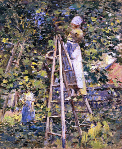 Theodore Robinson Gathering Plums - Hand Painted Oil Painting