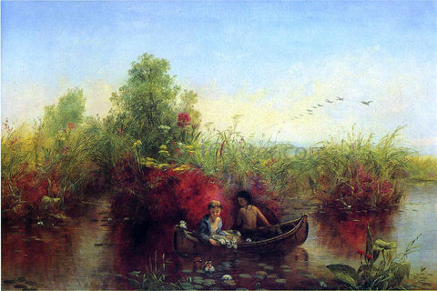 Jerome B. Thompson Gathering Waterlilies - Hand Painted Oil Painting