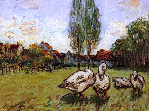Alfred Sisley Geese - Hand Painted Oil Painting