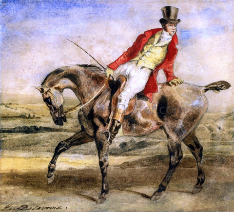 Eugene Delacroix Gentleman on a Dark Brown Hunter - Hand Painted Oil Painting