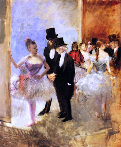 Jean-Louis Forain Gentlemen of the Opera (also known as The Dance Studio) - Hand Painted Oil Painting