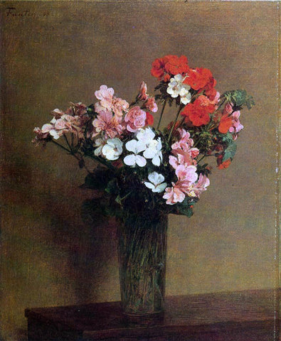 Henri Fantin-Latour Geraniums - Hand Painted Oil Painting