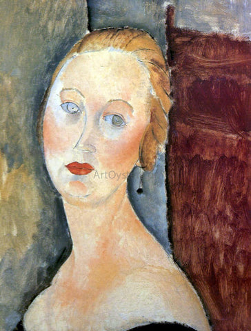 Amedeo Modigliani Germaine Survage with Earrings - Hand Painted Oil Painting