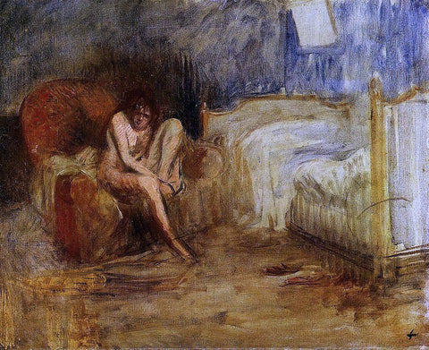 Jean-Louis Forain Getting out of Bed - Hand Painted Oil Painting