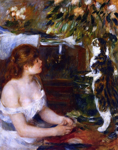 Pierre Auguste Renoir Girl and Cat - Hand Painted Oil Painting
