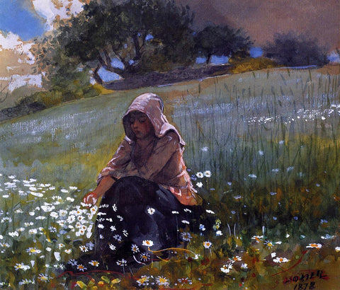 Winslow Homer Girl and Daisies - Hand Painted Oil Painting