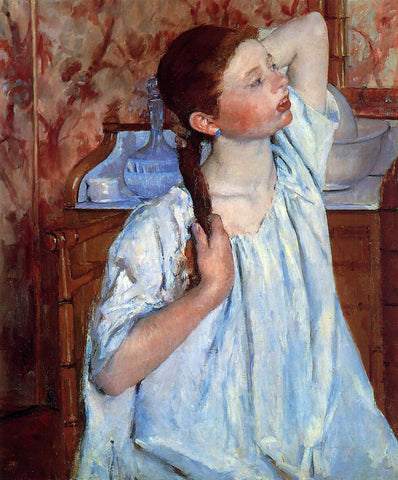 Mary Cassatt Girl Arranging Her Hair - Hand Painted Oil Painting