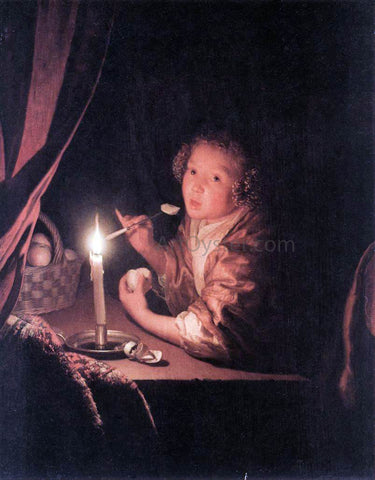 Godfried Schalcken Girl Eating an Apple - Hand Painted Oil Painting