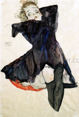 Egon Schiele Girl in Blue Dress - Hand Painted Oil Painting