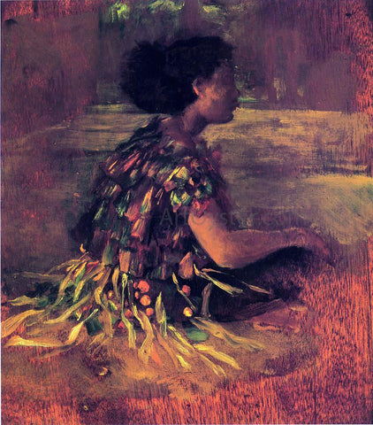 John La Farge Girl in Grass Dress (also known as Seated Samoan Girl) - Hand Painted Oil Painting