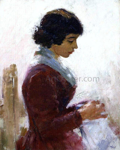 Theodore Robinson Girl in Red, Sewing - Hand Painted Oil Painting