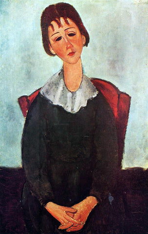 Amedeo Modigliani A Girl on a Chair (also known as Mademoiselle Huguette) - Hand Painted Oil Painting