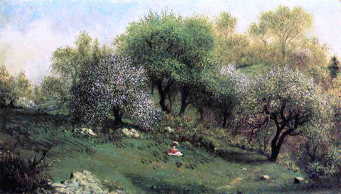 Martin Johnson Heade Girl on a Hillside, Apple Blossoms - Hand Painted Oil Painting