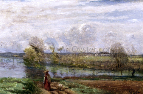 Jean-Baptiste-Camille Corot Girl Reading by the Water - Hand Painted Oil Painting
