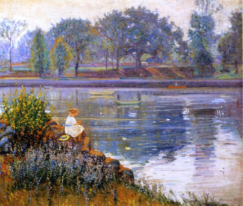 Theodore Wendel Girl Seated by a Pond - Hand Painted Oil Painting