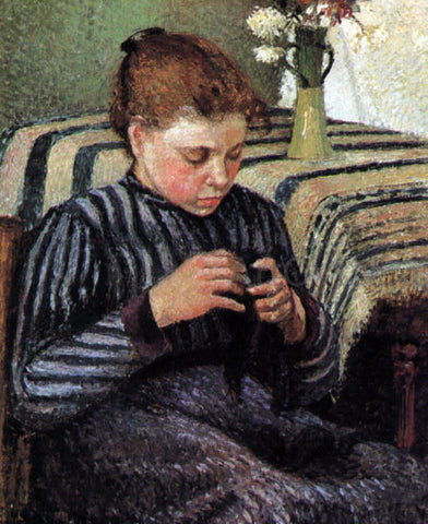 Camille Pissarro Girl Sewing - Hand Painted Oil Painting