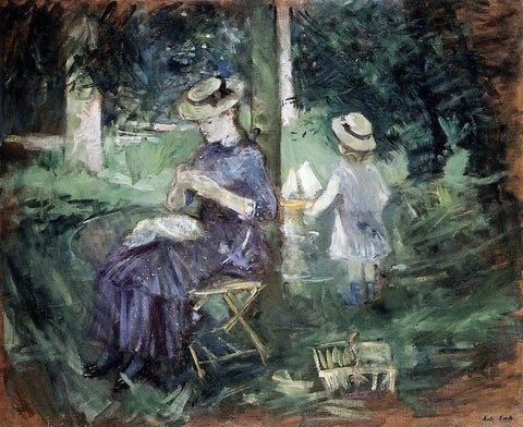 Berthe Morisot Girl Sewing in a Garden - Hand Painted Oil Painting