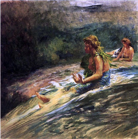 John La Farge Girl Sliding Down Water Fall, Banna Leaf Around Her Body - Hand Painted Oil Painting