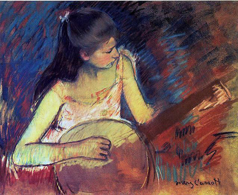 Mary Cassatt Girl with a Banjo - Hand Painted Oil Painting