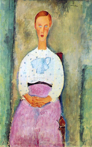 Amedeo Modigliani Girl with a Polka-Dot Blouse - Hand Painted Oil Painting