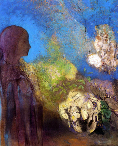 Odilon Redon Girl with Chrysanthemums - Hand Painted Oil Painting